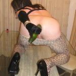 Horny slut in leopard print pantyhose fucks herself