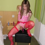 T girl Kirsty rocking the red lingerie look